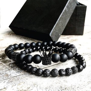2pcs/set Men Bead Bracelet Crown Charm Bangle Natural  Beads Bracelet for Women and Mens Pulseras Masculina