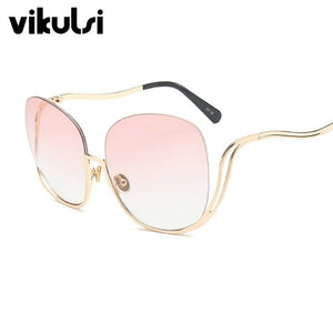 Rimless Gradient Women Luxury Brand Designer Oversized Round Sunglasses