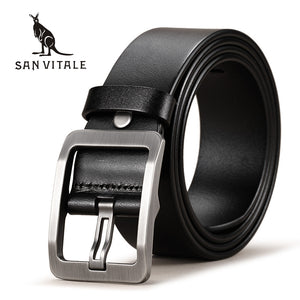 SAN VITALE 100% Cowhide Genuine Leather Belts for Men Brand Strap Male Pin Buckle Fancy Vintage Cowboy Jeans
