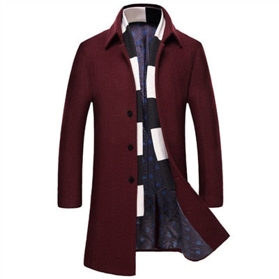 Men 's  Long Wool Coat With Scarf