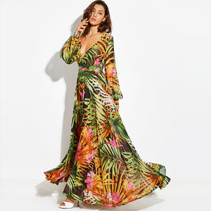 Women Summer Maxi  Bohemian Lantern Sleeve Boho Dress