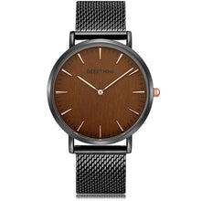 Load image into Gallery viewer, GEEKTHINK Top Luxury Brand Quartz Watches Men Full Stainless Steel Classic Milimalist Designer Wrsitwatch Wooden Face Clock Male