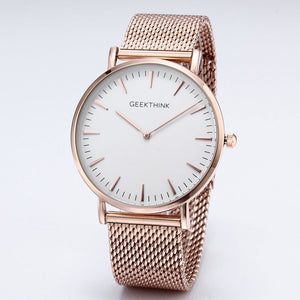 GEEKTHINK Top Luxury Brand Quartz Watches Men Full Stainless Steel Classic Milimalist Designer Wrsitwatch Wooden Face Clock Male
