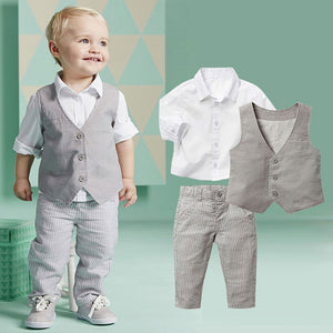 Formal Clothing Sets For Newborn Baby Boy Party and Wedding Infant Boys Clothes Set Cotton Child Boys Suit Vest+Shirt+Pant 2017