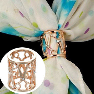 WK005 New Luxury Brooches Crystal Scissors Hollow Flower Hijab Shawl Silk Scarf Scarves Buckle Clips Fashion Women Jewelry