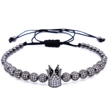 Load image into Gallery viewer, New Zircon Bracelets Men Jewelry Cubic Micro Pave CZ Crown Charm & 4mm Round Beads Braided Macrame Bracelet pulseira feminina