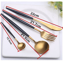 Load image into Gallery viewer, 4 Pcs/Set Rose Gold Dinnerware Set 304 Stainless Steel Western Cutlery Set Kitchen Food Tableware Sliver Dinner Flatware Set