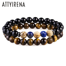 Load image into Gallery viewer, ATTYIRENA Men Jewelry Tiger Eye Buddha Bracelets For Men Luxury Meditation 8mm Prayer Bead Bracelets Natural Stone Bracelets