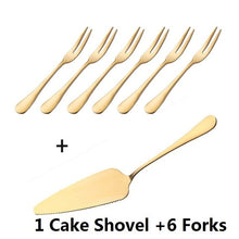 Load image into Gallery viewer, Golden Plated 304 Stainless Steel Cake Shovel Knife Fork Set Wedding Cake Dessert Salad Fruit Mini Forks Gold Flatware Cutlery