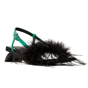 Whimsy spring summer sandals with feather decor