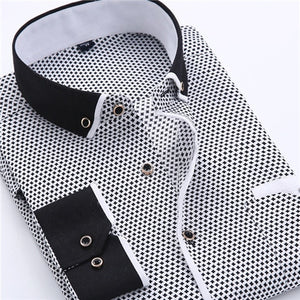 Men  Printed  Slim Fit Long-sleeve Cotton Business  Shirts Plus Size S-4XL Available