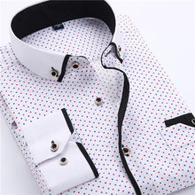Load image into Gallery viewer, Men  Printed  Slim Fit Long-sleeve Cotton Business  Shirts Plus Size S-4XL Available
