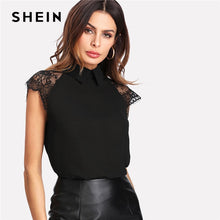 Load image into Gallery viewer, SHEIN Floral Lace Cap Sleeve Blouse Black Peter pan Collar Button Women Elegant Top Summer Short Sleeve Plain Workwear Blouse