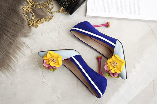Women Pumps Genuine Leather Original Design Thin High Heels Shallow 3D Flowers Luxury Pointed Toe Women Shoes JHS01 MUYISEXI