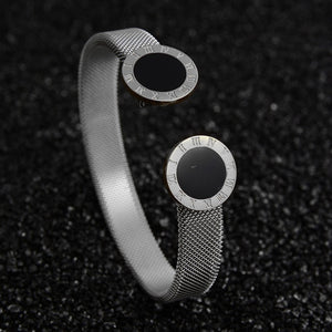 Luxury Jewelry Cuff Open Adjustable Stainless Steel Bracelets For Women Wedding Gift