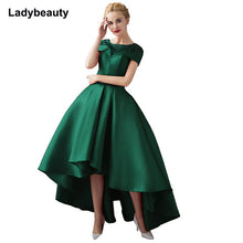 Load image into Gallery viewer, Asymmetrical Ball Gown Evening Dresses Plus Size 2018 Luxury Prom Formal Dress Short Sleeve Formal Evening Gown Robe De Soiree