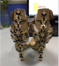 Load image into Gallery viewer, Gladiator Crystal rhinestone Embellished PVC Sandals women Spiked metal Padlock high Heels runway Ankle strap wedding Shoes