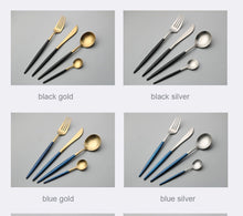Load image into Gallery viewer, 4Pcs Colorful Flatware Set Stainless Steel Cutlery Set Knife Fork Set Tableware Cutleries Western Food Set
