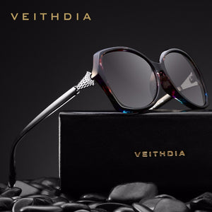 VEITHDIA Retro Womens Sun glasses Polarized Luxury crystal Ladies Brand Designer Sunglasses Eyewear For Women Female V3027