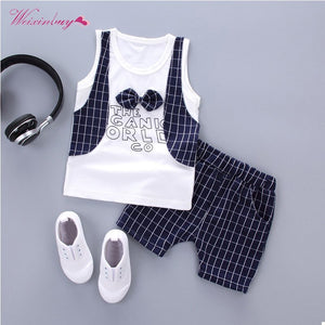 Formal Clothing Sets For Baby Boy Plaid Letters Bow Clothes Infant Birthday Party Cloth Fashion Outerwear Boys 2 Pieces Set