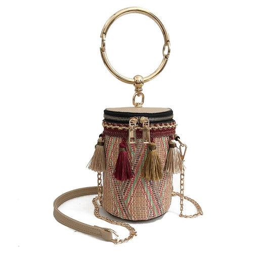 TTOU Bohemia Bucket Cylindrical Straw Bags Barrel-Shaped Woven Women Bamboo Crossbody Bags tassel Metal Handle Shoulder Bag