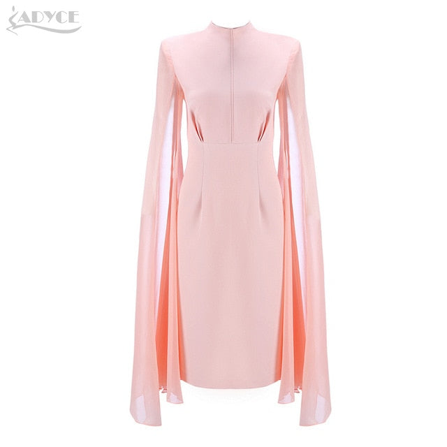 ADYCE Sexy Women Bodycon Summer Dresses Pink O-Neck Batwing Sleeve Knee Length Luxury Celebrity Runway Dress Club Vestidos