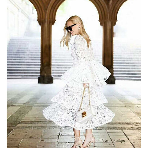 HIGH QUALITY New Fashion Designer Runway Dress Women's Flare Sleeve Lace Cascading Ruffle Dress