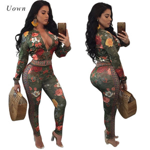 Fashion Tracksuit Women Two Piece Set Autumn Long Sleeve Printed Crop Top Pant Suit Casual Sweat Suit Women Leisure Suits
