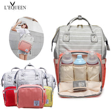 Load image into Gallery viewer, Fashion Mummy Striped Maternity Nappy Bag Large Capacity Baby Bag Travel Backpack Designer Nursing Bag for Baby Care