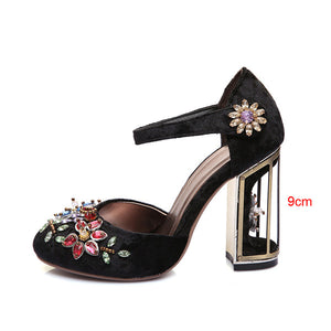 Woman Mary Jane Shoes Velvet with Rhinestone 7cm/9cm Strange Style Heel Shoes Wedding Party Shoes size 33-43 MENG03 MUYISEXI