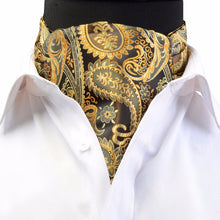Load image into Gallery viewer, GUSLESON Luxury Men's Ascot Vintage Paisley Floral Jacquard Woven Silk Tie Self Cravat Necktie Scrunch British style Gentleman