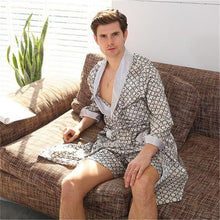 Load image into Gallery viewer, 2 Piece Sets Plus Size Luxury Bathrobe Geometric Robes Men Spring Bathrobes Long Sleeve Sleepwear Nightwear For Male Ds5083