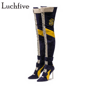 Blue Over the Knee Boots cross tied 10 cm super high Heels Thigh High Boots Women 2018 runway T- show patchwork long Booties