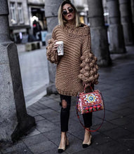 Load image into Gallery viewer, Chunky Knit Sweater Loose Hand Knitted Sweaters Lantern Sleeve