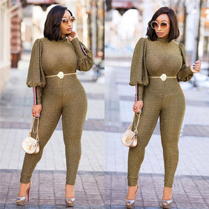 Gold Glitter Bodycon Jumpsuit Romper Women Autumn Winter High Neck Lantern Long Sleeve One Piece Sparkly Party Jumpsuit Catsuit