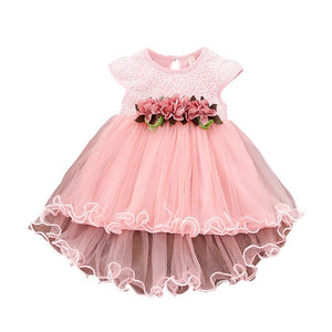 Infant Kids Baby Girl Clothes Summer Floral Print  Sleeveless Cotton Princess Party Dresses Mesh Girls Clothes Girls Ball Gown