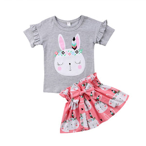 Infant Kids Baby Girl Bunny Print Sunsuit Toddler Girls Easter Party Bowknot Summer Clothes Tops T-shirt Tutu Skirt Dress 2Pcs