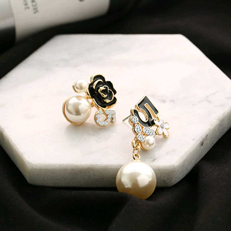 Pearl Number 5 Long Dangle Chain Earrings For Women
