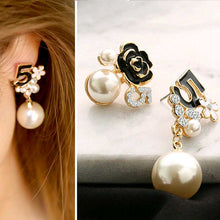 Load image into Gallery viewer, Pearl Number 5 Long Dangle Chain Earrings For Women