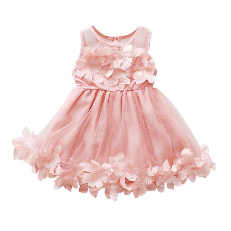 Flower Girl Princess Dress Girl  Summer Infant Baby Girl Cute Veil Dresses Kids's Party Wear Costume Girl Children Clothing