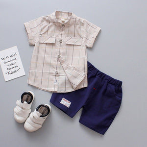 Children Infant Kid Boys Plaid Print Blouse Tops+Pants Formal Party Set Clothes