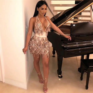 Sequin Tassel Sexy 2 Piece Set Women Satin Bandage Top and Skirt Set Party Club Two Piece Matching Outfits Women Sets Clothes