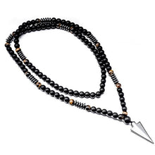 Load image into Gallery viewer, New Design Long Necklac 8MM Tiger Stone Bead Black Men's Hematite Triangle Pendants Necklace Geometry Gothic Vintage Jewelry