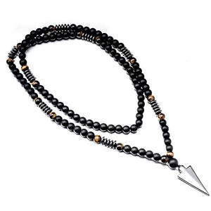 New Design Long Necklac 8MM Tiger Stone Bead Black Men's Hematite Triangle Pendants Necklace Geometry Gothic Vintage Jewelry