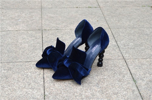 Navy Blue Brand Designer Women Shoes Pearl High Heel Pointed Toe Velvet Bow 9 cm Stiletto Party Shoes Pumps YT02 MUYISEXI