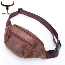 Load image into Gallery viewer, COWATHER 100% Top cow genuine leather messenger bag Large Capacity chest bags for men new design male bag M8070
