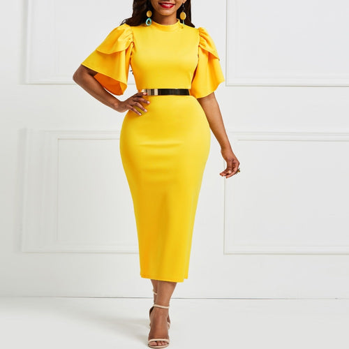 Women Bodycon Elegant Vintage Long Dress Belt Purchase Available