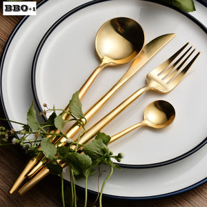 4pcs/set Gold Dinnerware Set Stainless Steel Kitchen Cutlery Christmas Tableware Fork Knife spoon Set Wedding Flatware