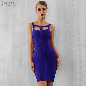Women Bandage Dress New Arrival Pink Celebrity Party Dress Spaghetti Strap Hollow Out Runway Dresses