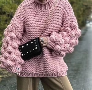 Chunky Knit Sweater Loose Hand Knitted Sweaters Lantern Sleeve